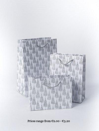 Silver Handmade Glitter Tree Gift Bags