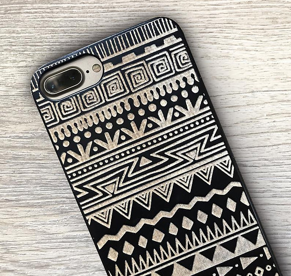 Real Wood Engraved Phone Cover - Ethic Pattern