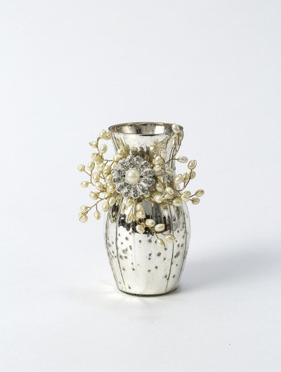 Mercury Glass Vase with Pearls