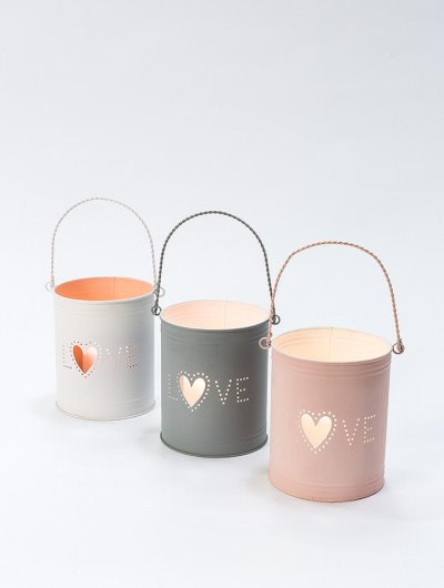 Recycled Metal Tealight Holders Love Set of 3