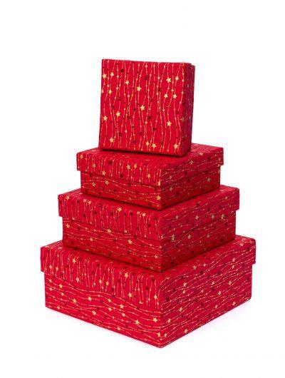 Handmade Red Meandering Star Gift Box Nest