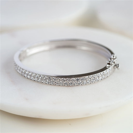 Sterling Silver Cubic Zirconia Baby Bangle