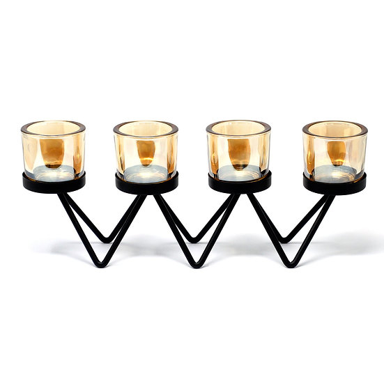Iron Votive Candle Holder - 4 Cup Zig Zag
