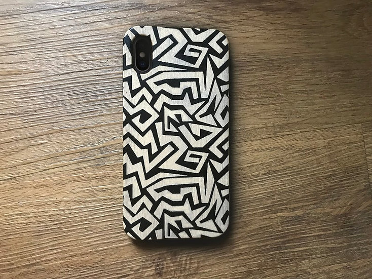 Real Wood Engraved Phone Cover - Graffiti