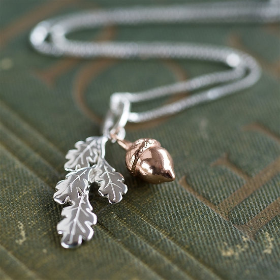 Handmade Leaf & Acorn Necklace