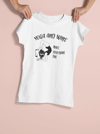 Women's Vegan Yoga T-Shirt - Yoga and Wine