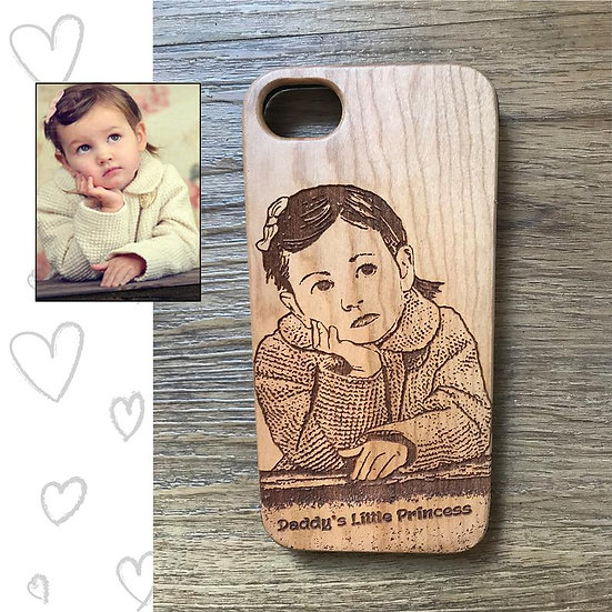 Real Wood Engraved Phone Cover - Portrait