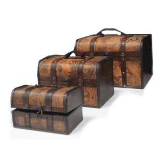 Vintage Style Box - Set of 3 Old Map Chests