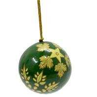 Hand Painted Christmas Baubles - Green & Gold