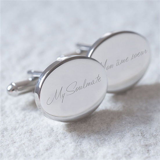 'My Soulmate, Mon âme Soeur' Wedding Cufflinks