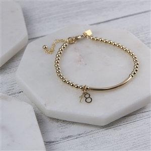 Handmade Gold 18th Beaded Bracelet, 17cm
