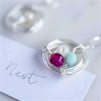 Handmade Birthstone 'Our Nest' Necklace