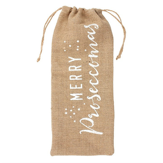 Merry Proseccomas Hessian Bottle Bag