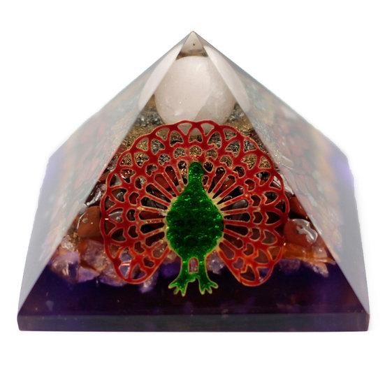 Lrg Organite Pyramid 70cm - Peacock(earth base)