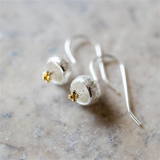 Handmade Sterling Droplet Flower Earrings