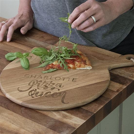 Personalised 'Pizza Queen' Oak Pizza Board