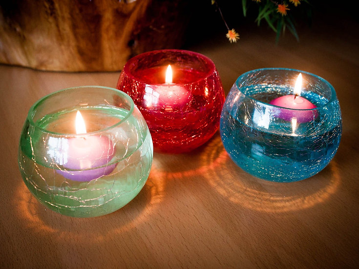 Crackle Candle Holders