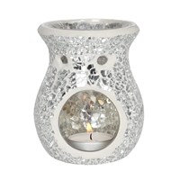 Black/Silver Crackle Oil Burners Small