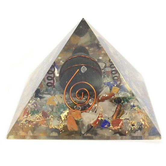 Orgonite Pyramid 60mm Gemchips, Copper, Turtle