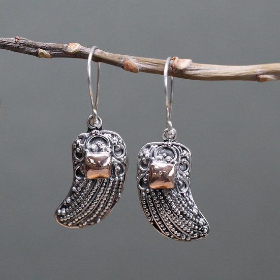 Handmade Silver & Gold Mixed Earrings Angel Wings