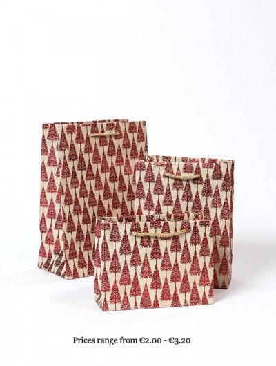 Red Handmade Glitter Tree Gift Bags