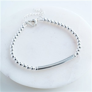 Handmade Personalised Silver Heart Clasp Bracelet