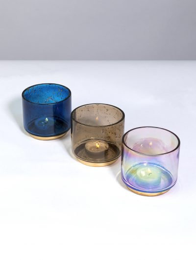 Recycled Pebbled Finish Tealight Holders - Small