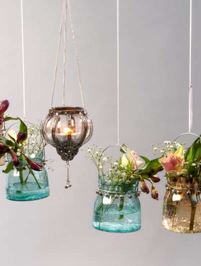 Recycled Hanging Tealight Holders - Gold & Teal