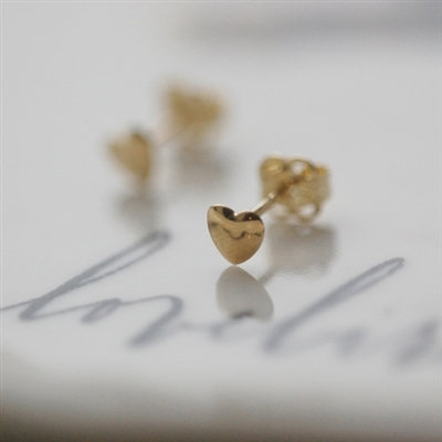 Handmade 9ct Yellow Gold Teeny Tiny Heart Earrings