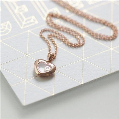 Handmade 0.01ct Rose Gold Heart Floating Diamond Necklace