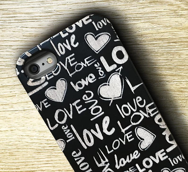 Real Wood Engraved Phone Cover - Love