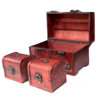 Vintage Style Boxes - Set of 3 Large Chests