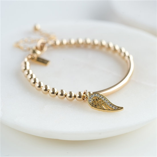 9ct Gold Baby Bracelet With Angel Wing Pendant