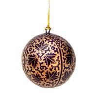 Hand Painted Christmas Baubles - Gold & Purple Leaf