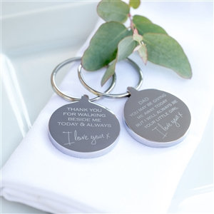 Personalised Stainless Steel Give Me Away Wedding Keyring