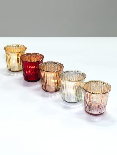Mercury Glass Ribbed Tealight Holder