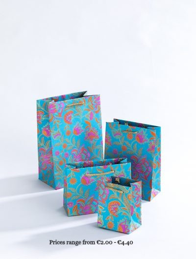 Turquoise Handmade Floral Twist Gift Bags