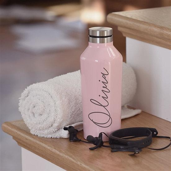 Personalised Rose Pink Drinks Bottle