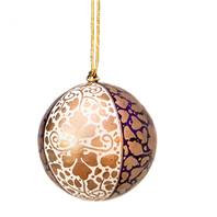 Hand Painted Christmas Baubles - Gold, Purple & Cream