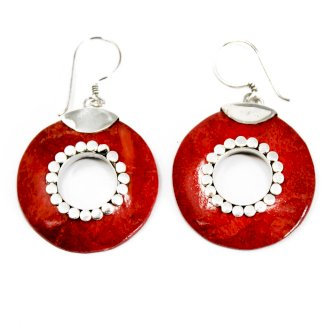 """Handmade 925 Silver """"Coral"""" Earrings Do - Nuts"""