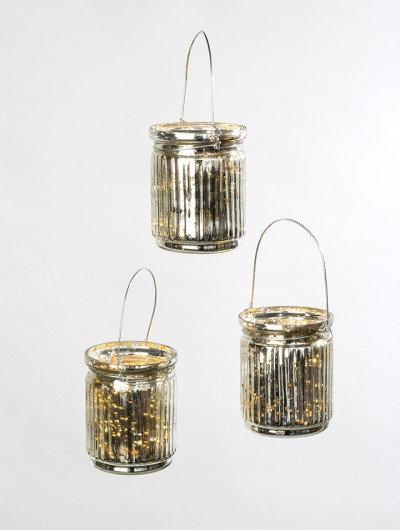 Mercury Glass Ribbed Tealight Holders