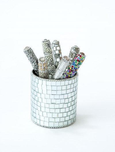 Silver Mirror Pen Pot