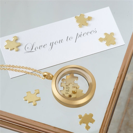 Handmade Gold 'Love You To Pieces' Necklace