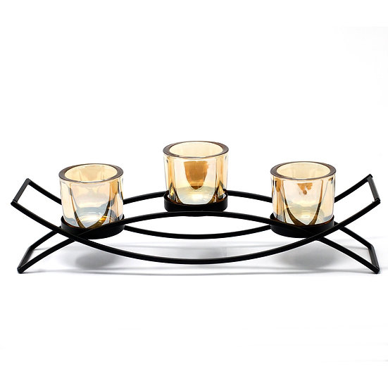 Iron Votive Candle Holder -  3 Cup Silluethe