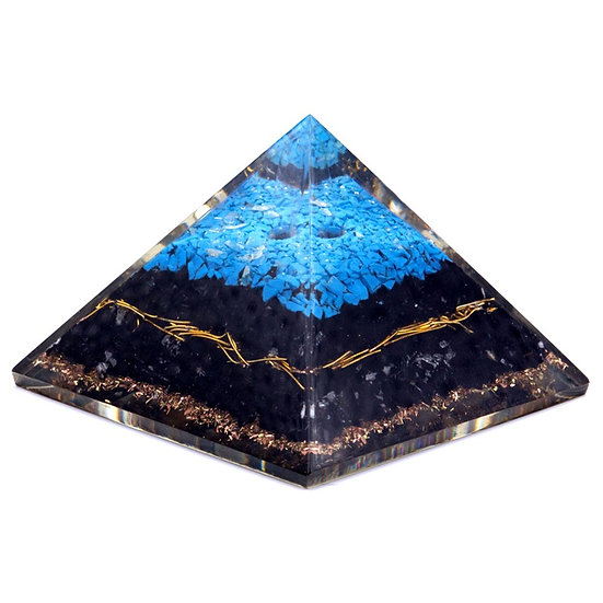 Orgonite Pyramid - Turqoise and Black Tourmaline - 70 mm