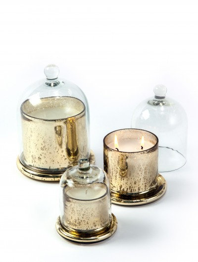 Recycled Gold Mercury Glass Candle Cloches