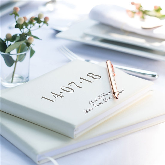 Personalised Leather Date Wedding Guest Book