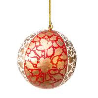 Hand Painted Christmas Baubles - Gold, Red & Cream