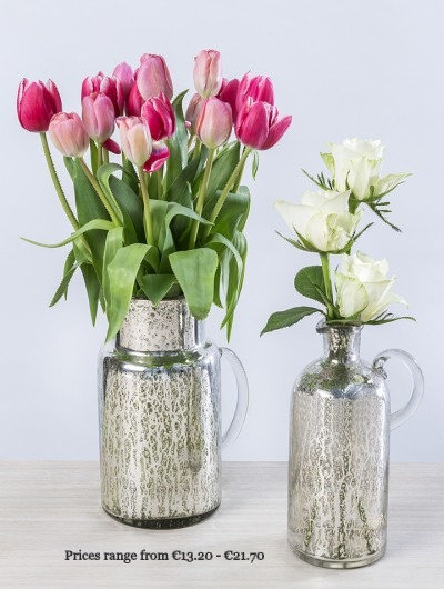 Silver Mercury Glass Jug Vases
