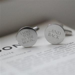 'I LOVE YOU TO THE MOON, AND BACK' Wedding Cufflinks